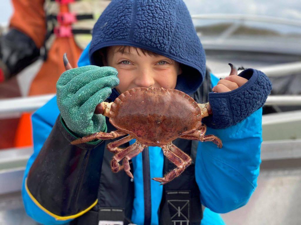 Barn henter opp krabber fra skjærgården utenfor Bogøya i Øyrekka