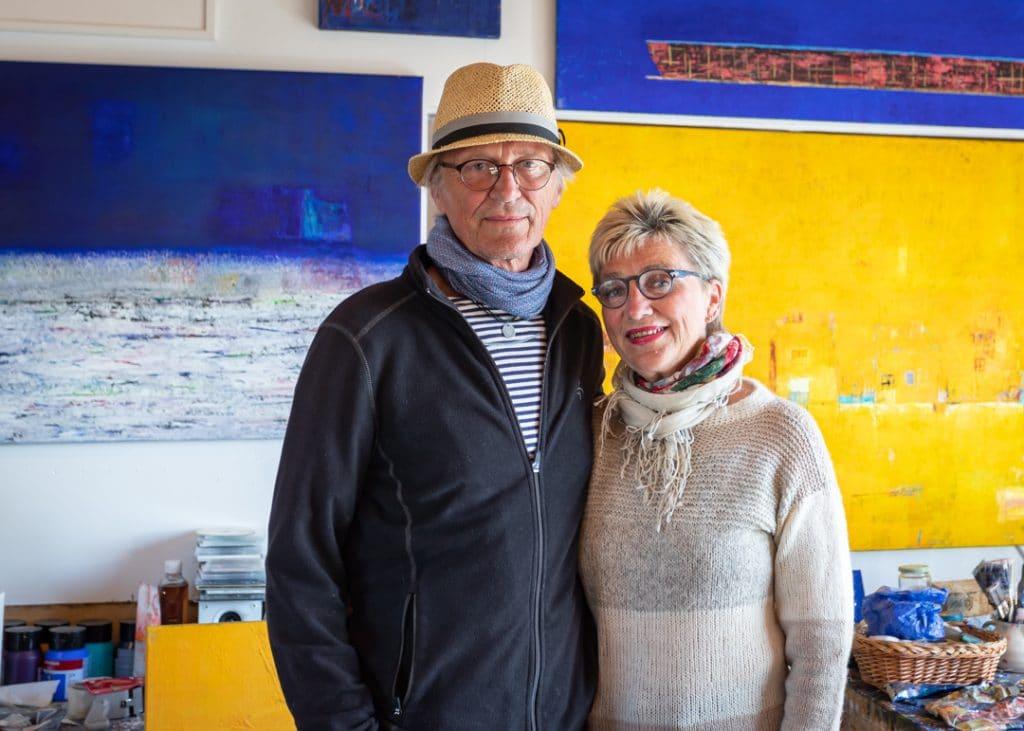 Kunstnerparet Mette og Thomas Grindstad Fyen i Atelier Staangsund på Sula, Frøyas skjærgård, Trøndelag